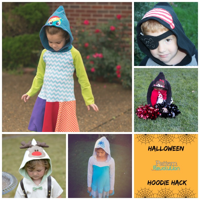"""Perfect for Halloween Dress Up or for Every Day Play! Combine any Funktional Threads Hooded Pattern with an Applique Design, sew with costume coordinating fabrics, and """"Viola""""...Your hoodie has been hacked."""