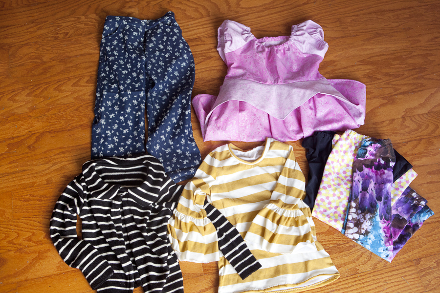 1. Floral Skinnies 2. M4M Aurora Dress 3. Aster Cardigan(upcycle) 4. Rose Ruffle (M4M) 5. Jocole leggings (x3)