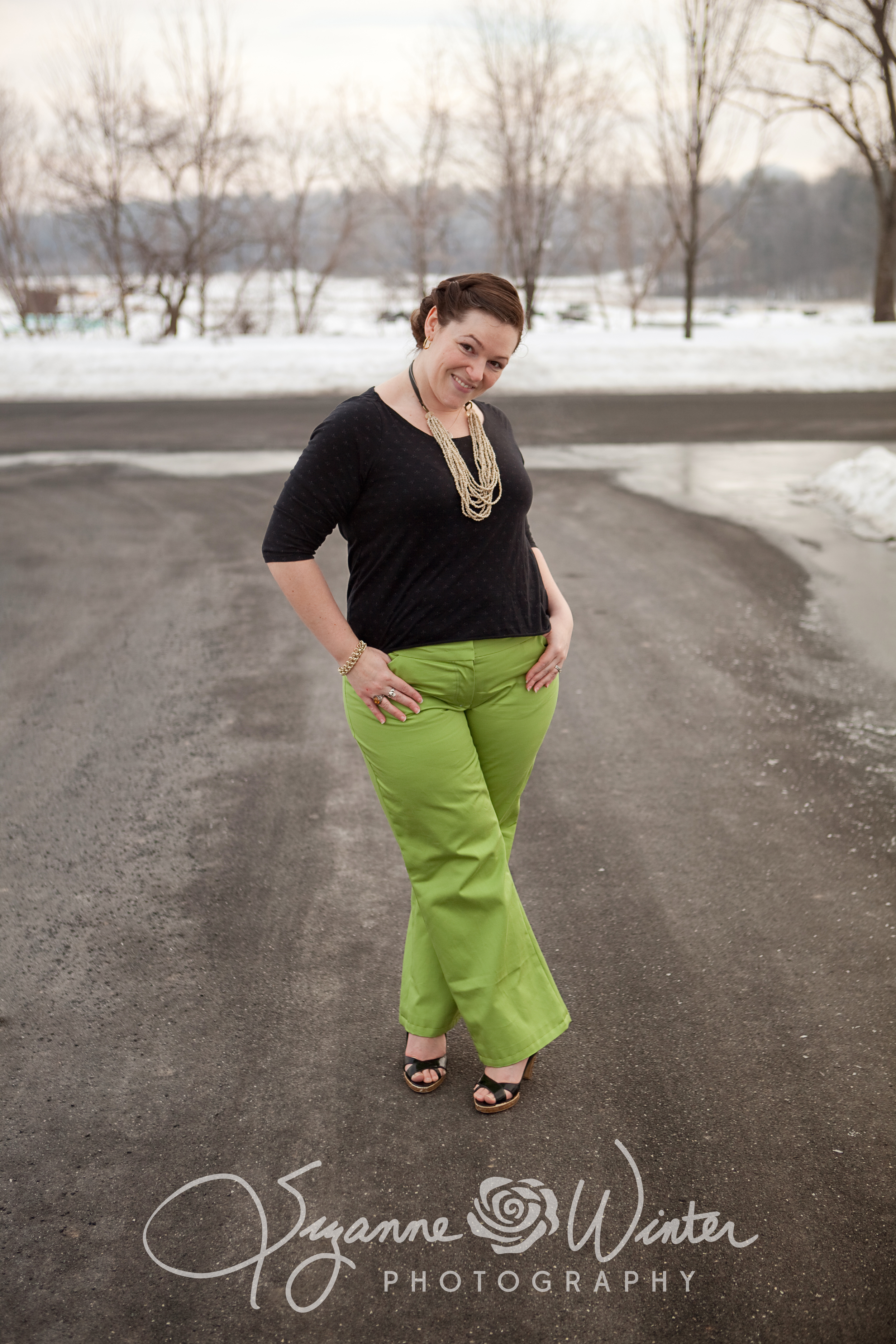 I left some extra room in this shoot since  the snowy gray background was the perfect contrast to the bright pants.