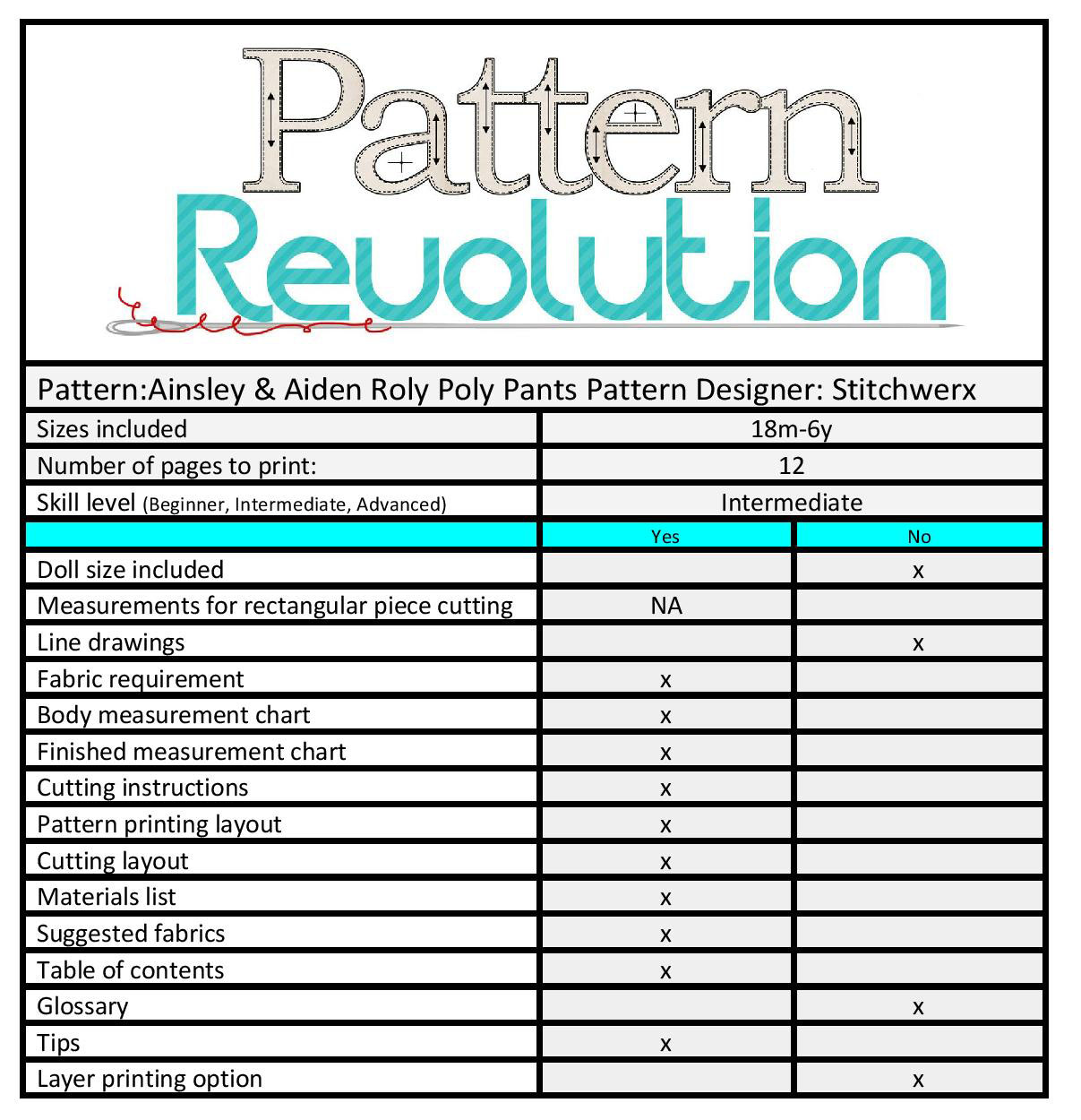 Stitchwerx Roly Poly Pants- Pattern Revolution