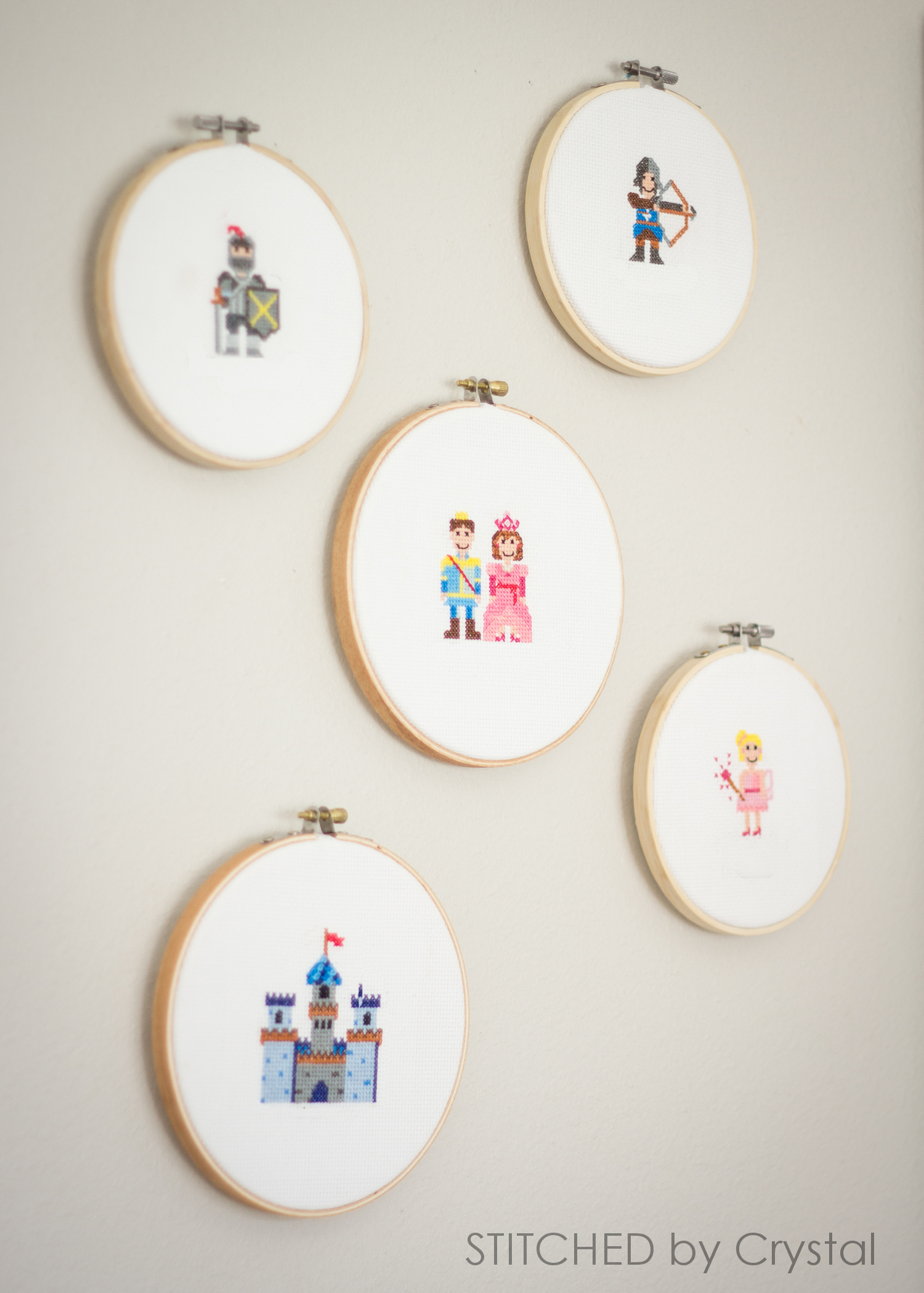King, Queen, Princess, Knight and Castle Cross Stitch Patterns