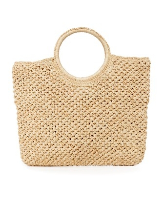 ROUND HANDLE BAG - The most stylish of the bunch, this makes for a great day to evening bag. It is an easy carry-all size with a pocket in the inside. I picture this transitioning from sunbathing on the beach to cocktail hour of a salty margarita at night.