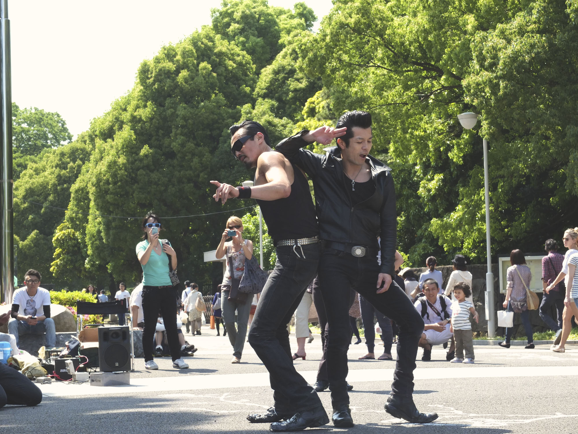 Yoyogi park is bustling with activity on a Sunday. Rockers come out to dance. Families come out to picnic and musicians come out to play.