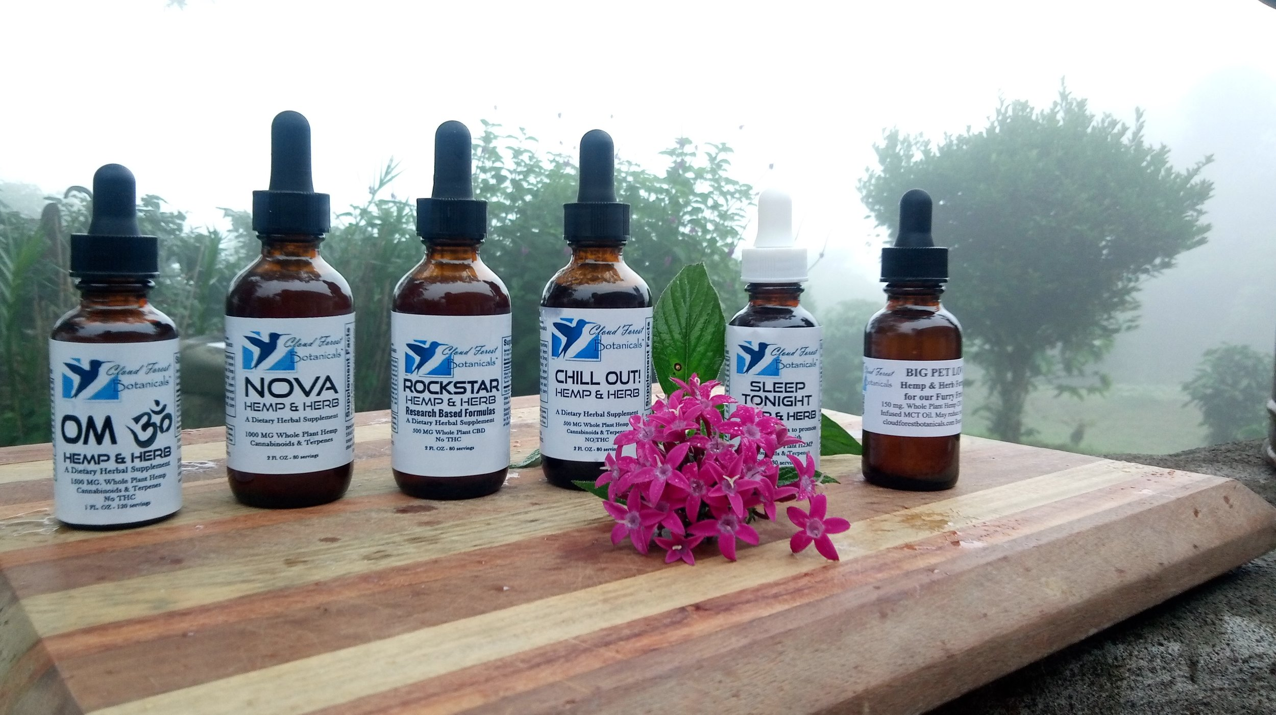 Hemp & Herbs   — from 500 to 1500 mg. of pure CBD with terpenes in organic botanical tinctures