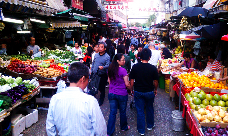 Outdoor market in Hong Kong.