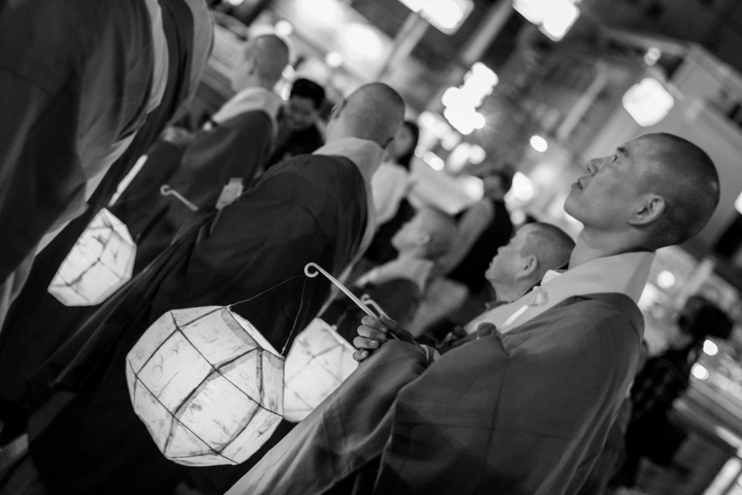 Monks lead the procession.