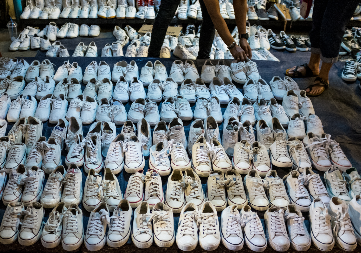 Shoes for sale in Chatuchak market.