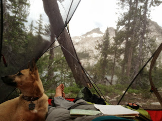 Maile the Great, at Toxaway Lake, Sawtooth Mountains