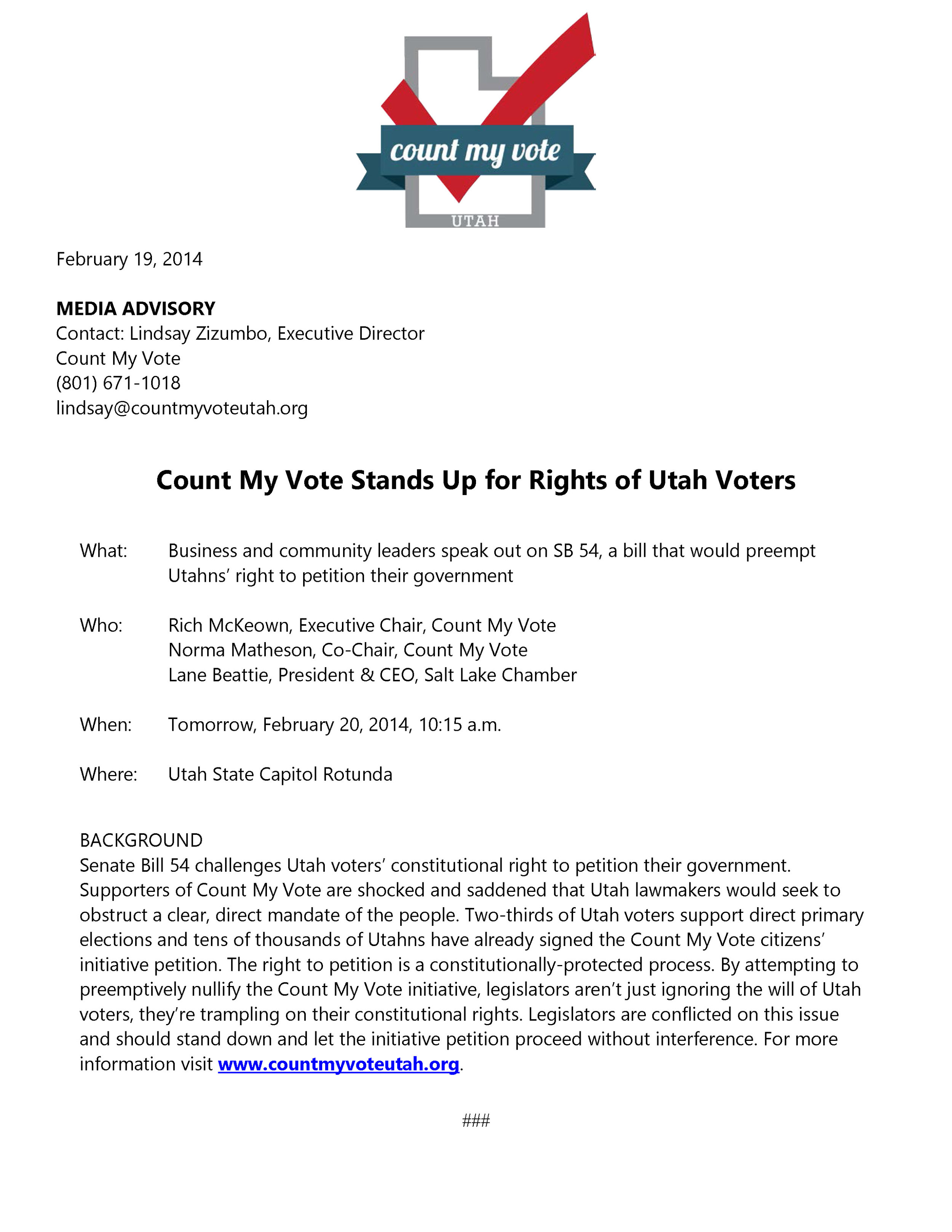Media Advisory - Count My Vote Stands up for Rights of Utah Voters.jpg