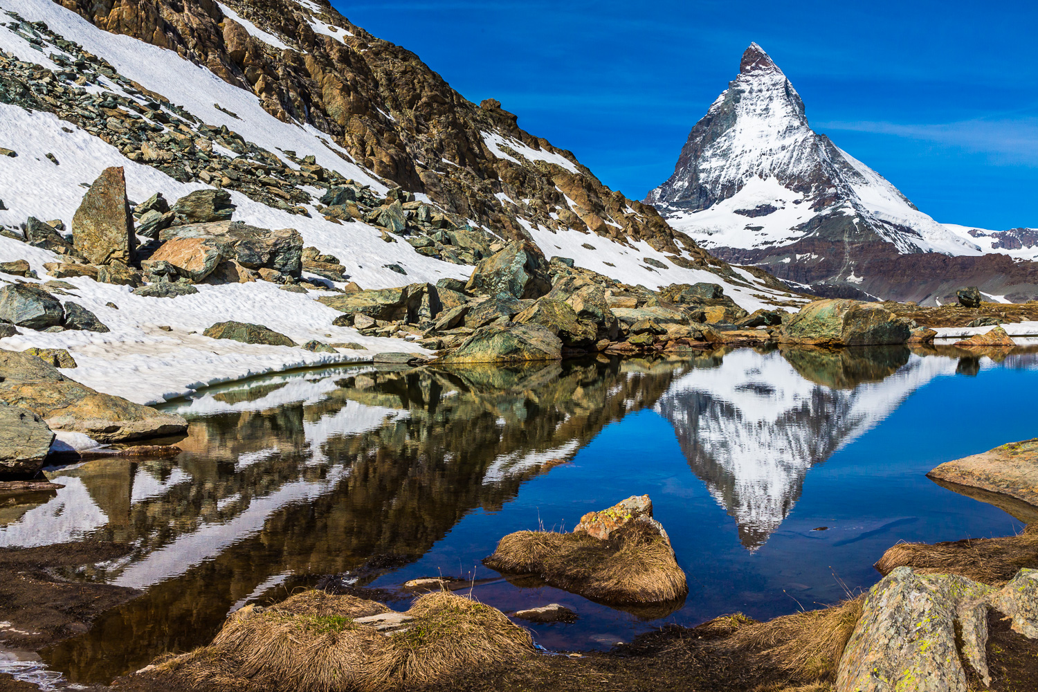 The Matterhorn reflected in a lake near Riffelsee, Zermatt, Switzerland