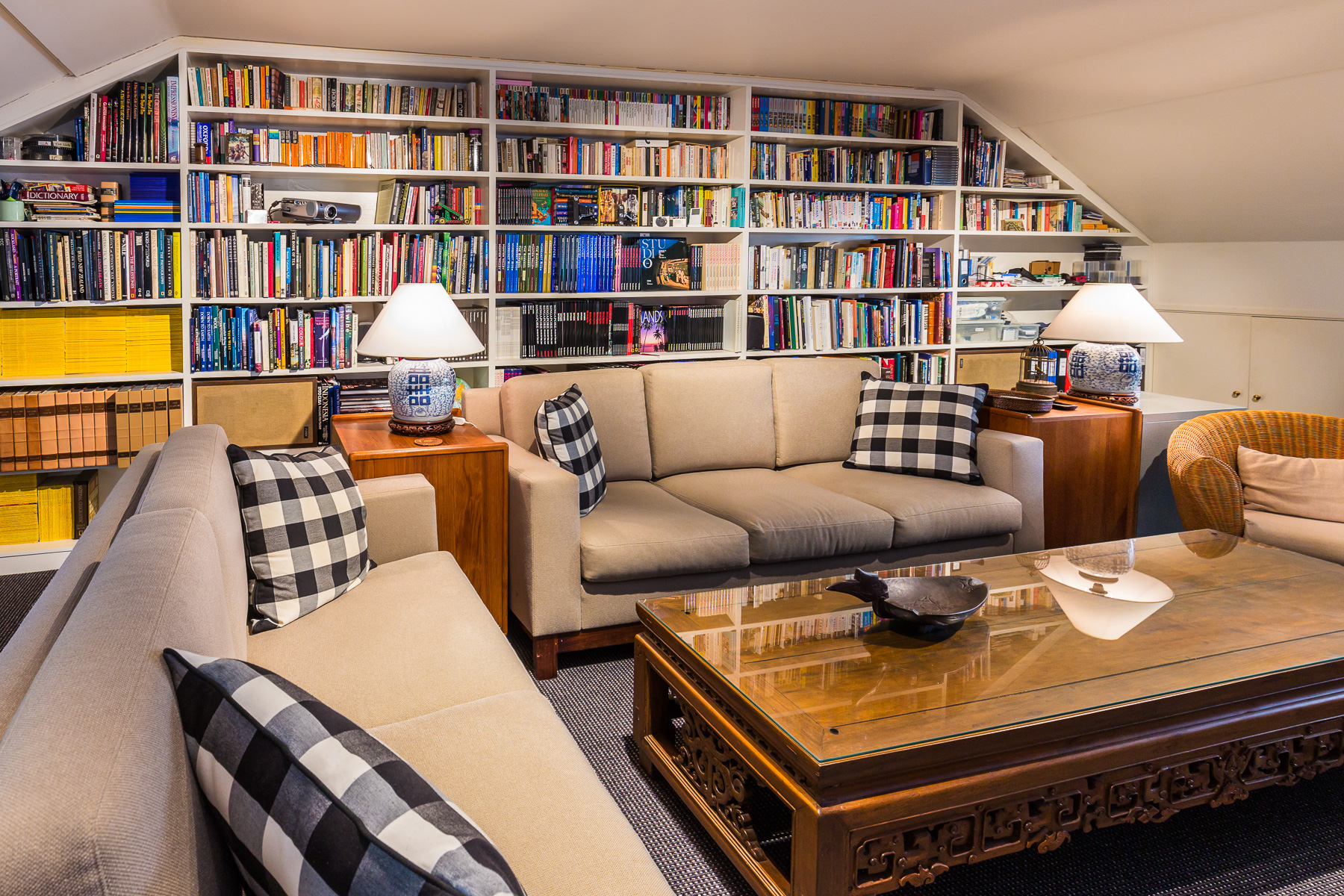 The upstairs loft with library and lounge.