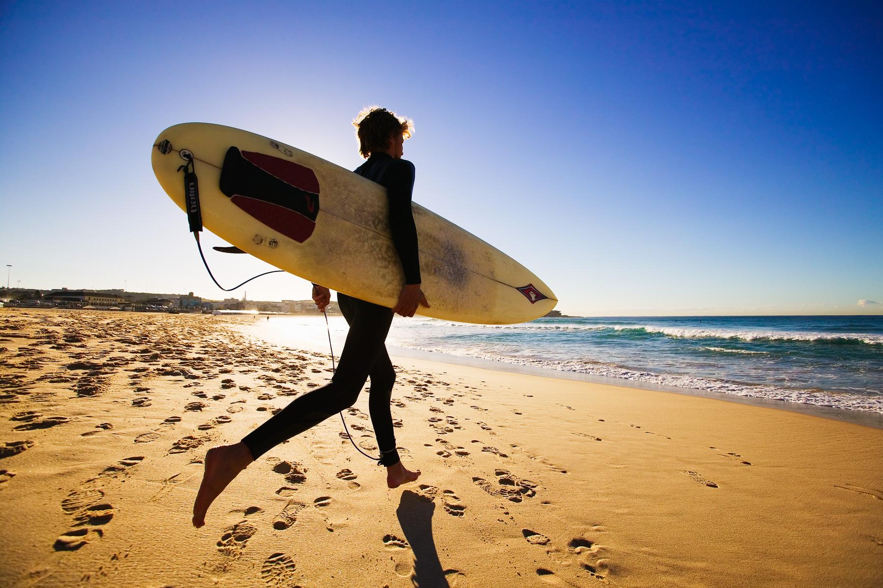 Surfer at Bondi Beach.