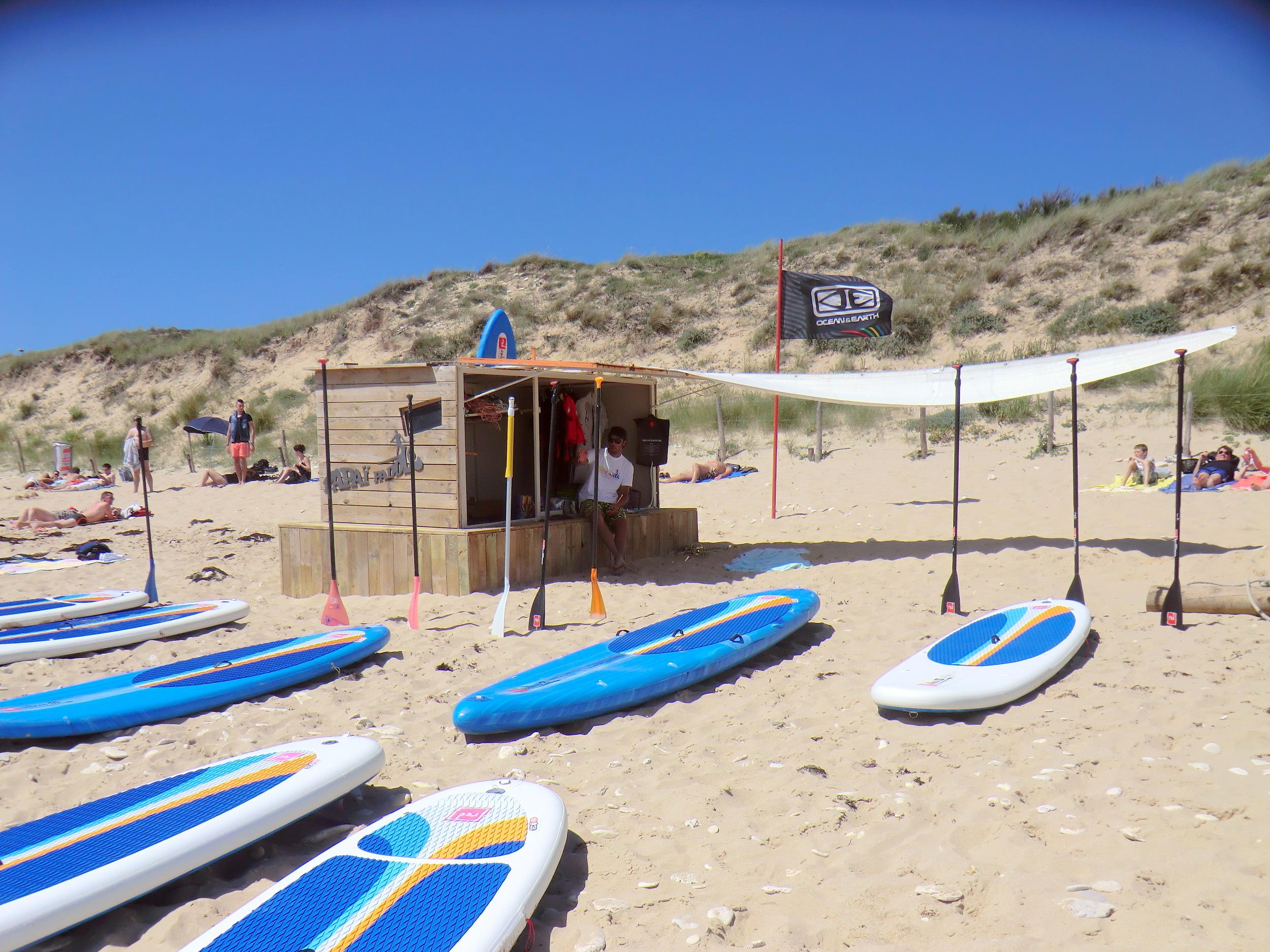Papaï paddle école de Stand up Paddle Ile de Ré. Plage des Gollandières au Bois plage en Ré.