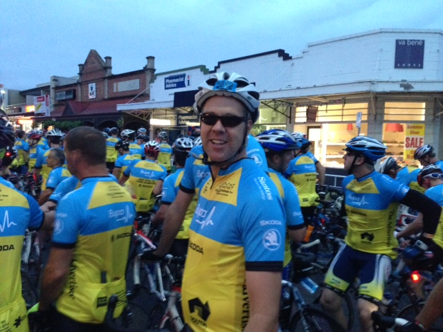 Inside Infrastructures Tony Lines suited up and ready to ride the full 154.5km from Unley to Victor Harbor