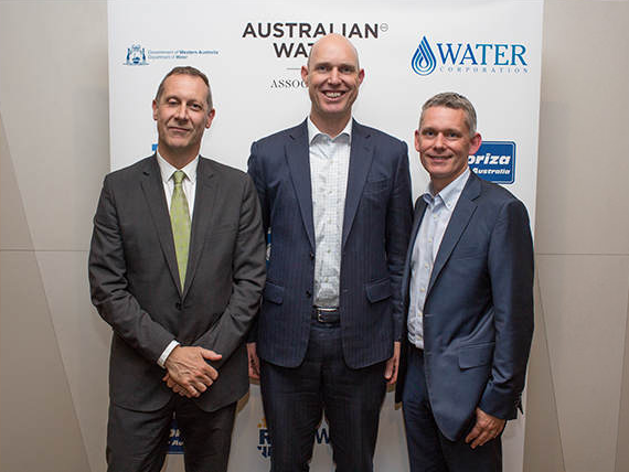 Mike Harold, Chris Hewitson and Craig Headon at the AWA awards dinner [WA]