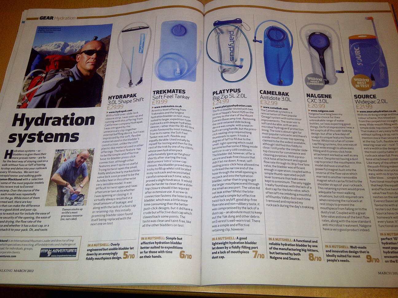 Hydration Bladders for Country Walking Magazine