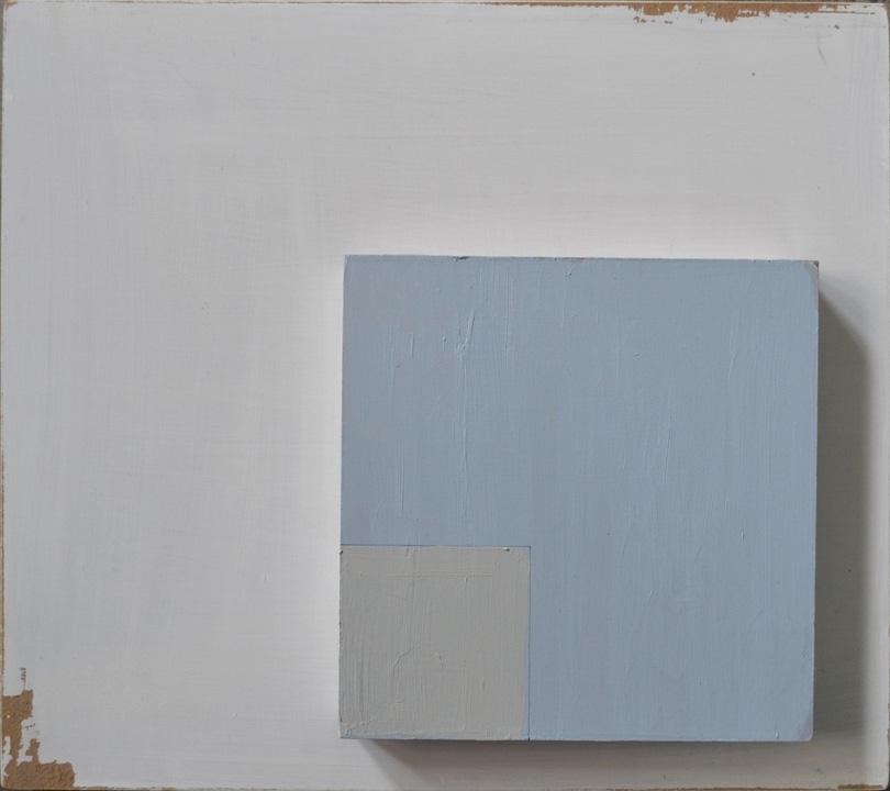 Objeto cuadrado 2, oleo sobre panel, 35x40cms