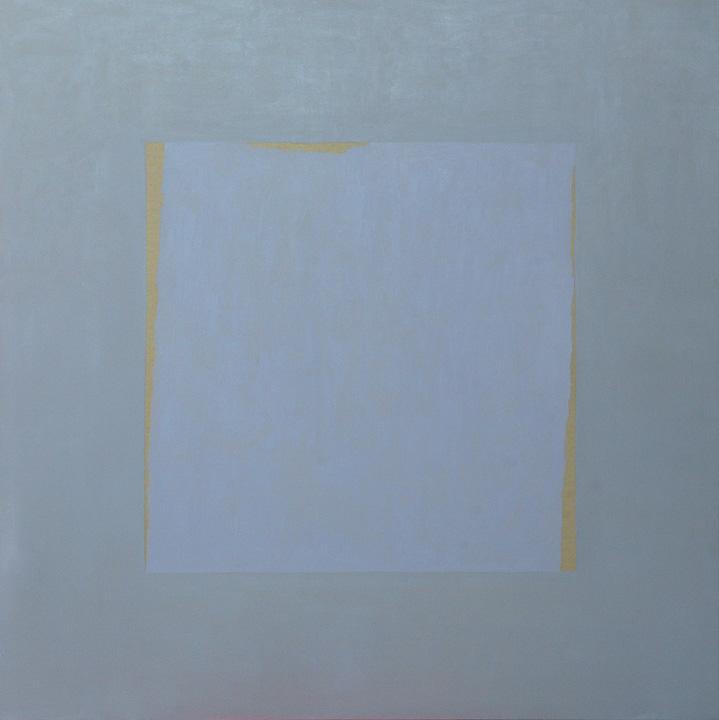Cuadrado celeste, oleo sobre lienzo, 140x140cms