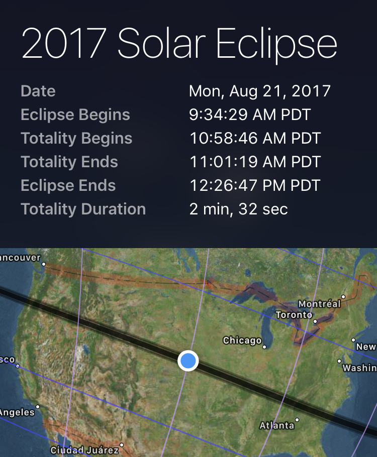 Screenshot of Sky Guide's total eclipse planning tool