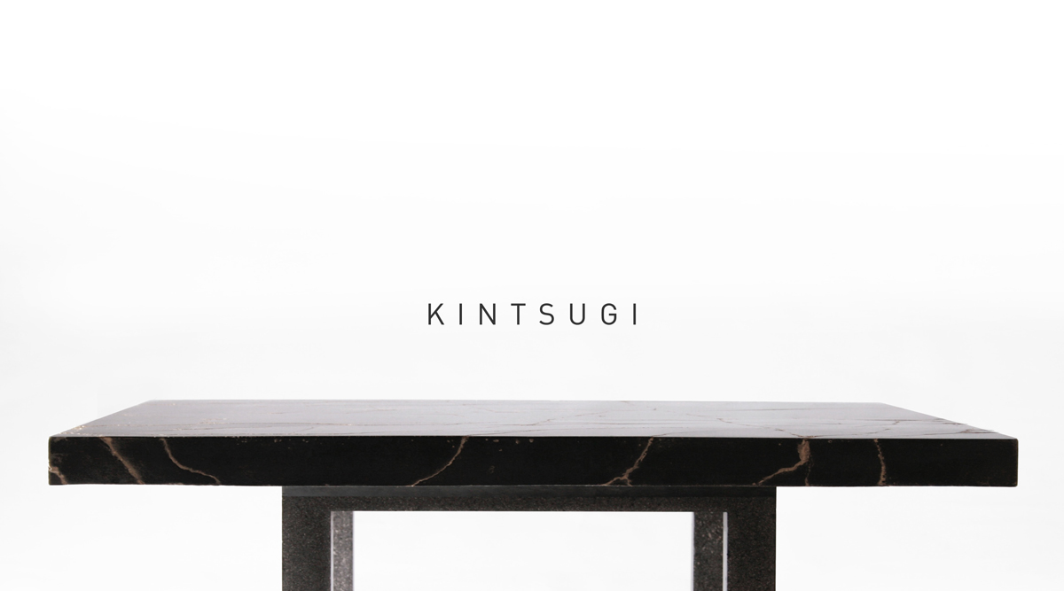 Kintsugi black concrete coffee table