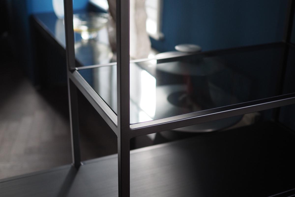 black metal frame shelving unit glass shelves.jpg