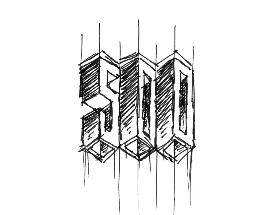 "The revised sketch based on one of the first sketches, with a change - simplify the design to just focus on ""500"""
