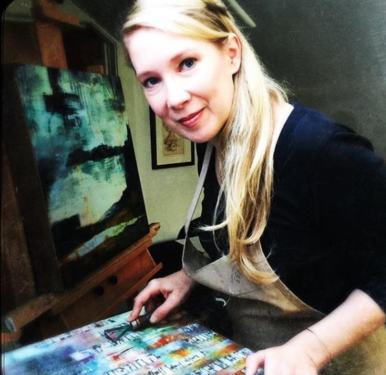 Working in studio - wax, water, pigment, fire