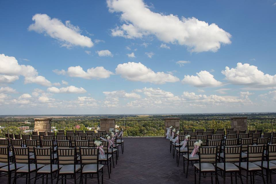 The Fifth Floor Terrace of the Oread Hotel, Lawrence, Kansas.  Photo Credit: One Tree Studios.