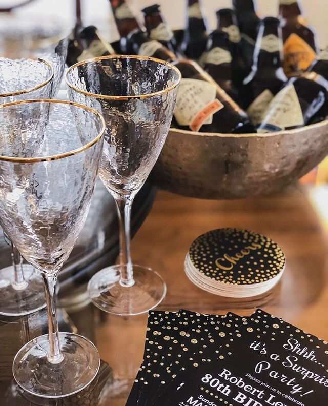 Have we mentioned how much we love birthdays? ⁣  The Fashioned Events team had the opportunity to throw a surprise 80th birthday party for a very special someone and we loved every moment.✨ Pro Tip: Invest in good glassware so you don't have to use disposable cups when hosting your next event!  #party #birthday #celebrateinstyle #fashionedevents #inhomeentertaining #surprisebirthday #eventplanner #weddingplanner #sustainableevents