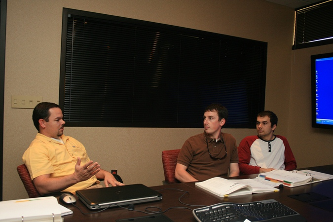 UGA students Cristian Niculas and Seth Peavy with Jackson EMC Engineer Chris Garrish  Source: Jackson EMC Website