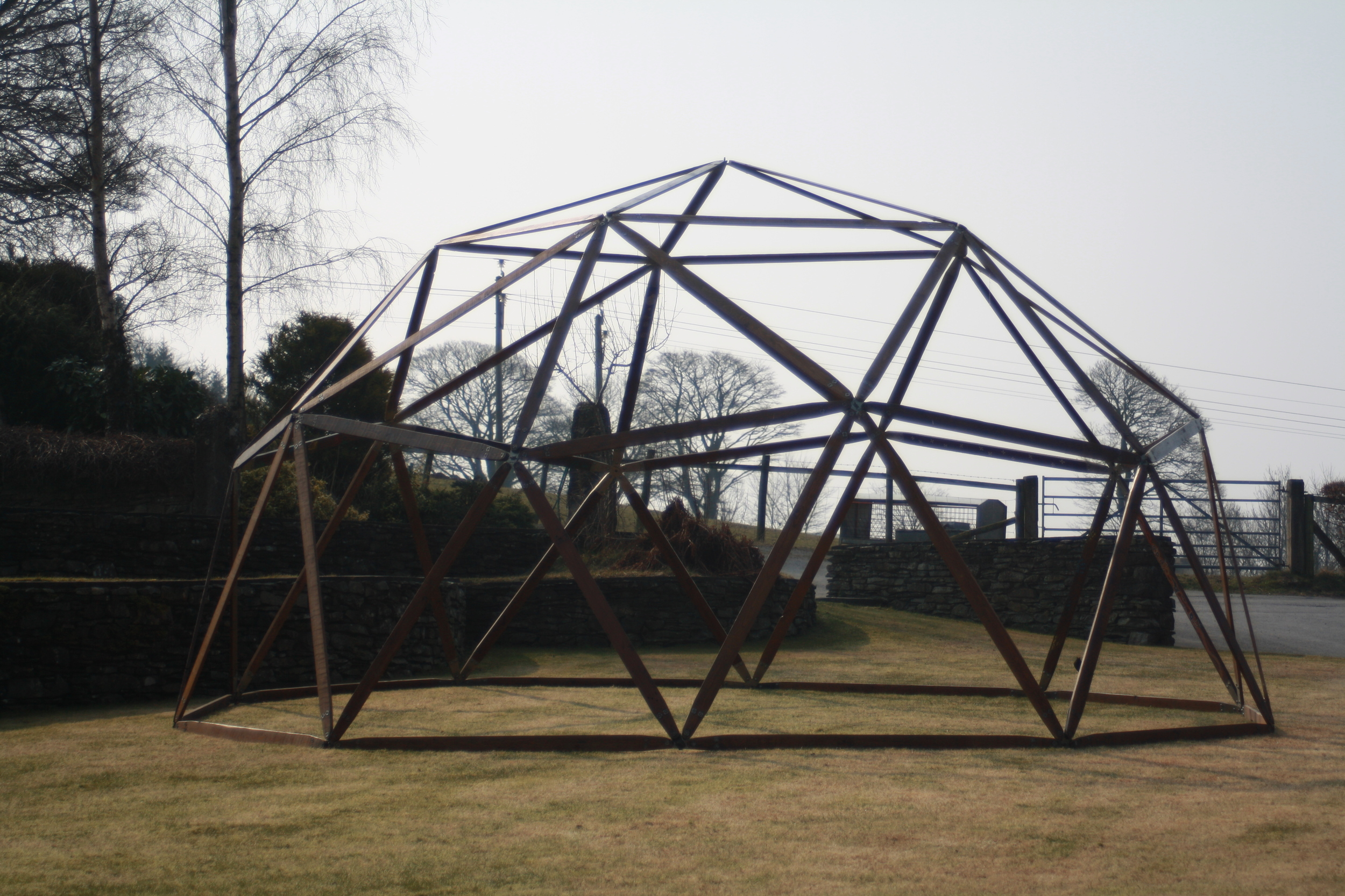 The completed six metre dome frame!  Impressive.