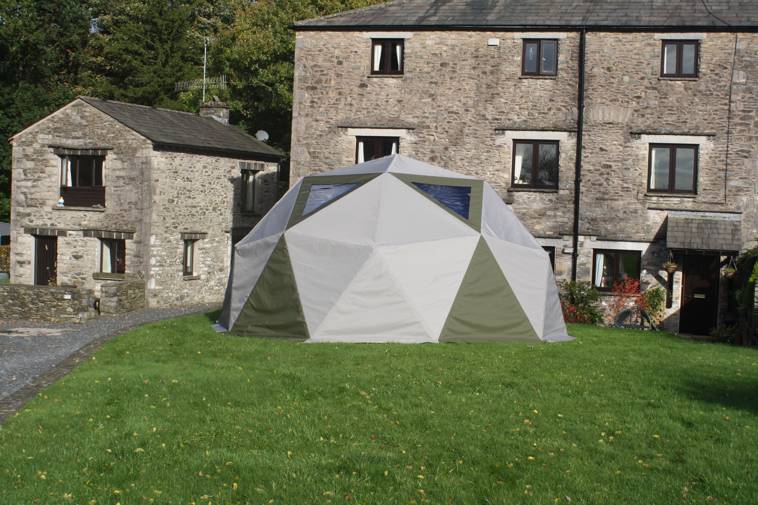 A 6m domemade Geodesic dome covered in Weathermax FR.