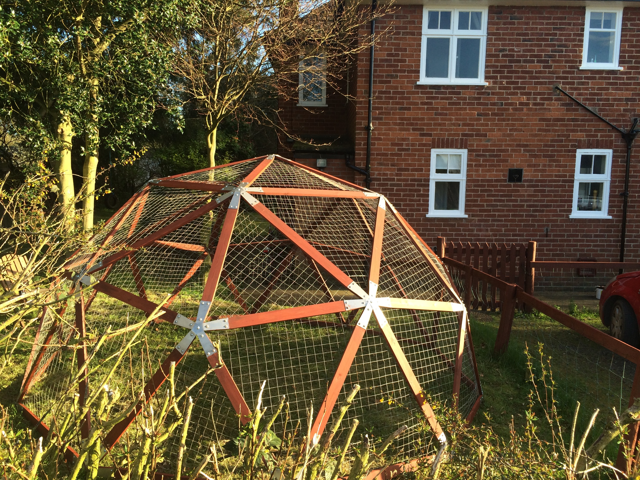 The dome frame with wire netting attached