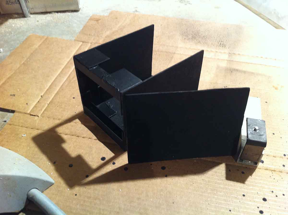 The finished box. This is the length my camera needs to focus on the ground glass plane