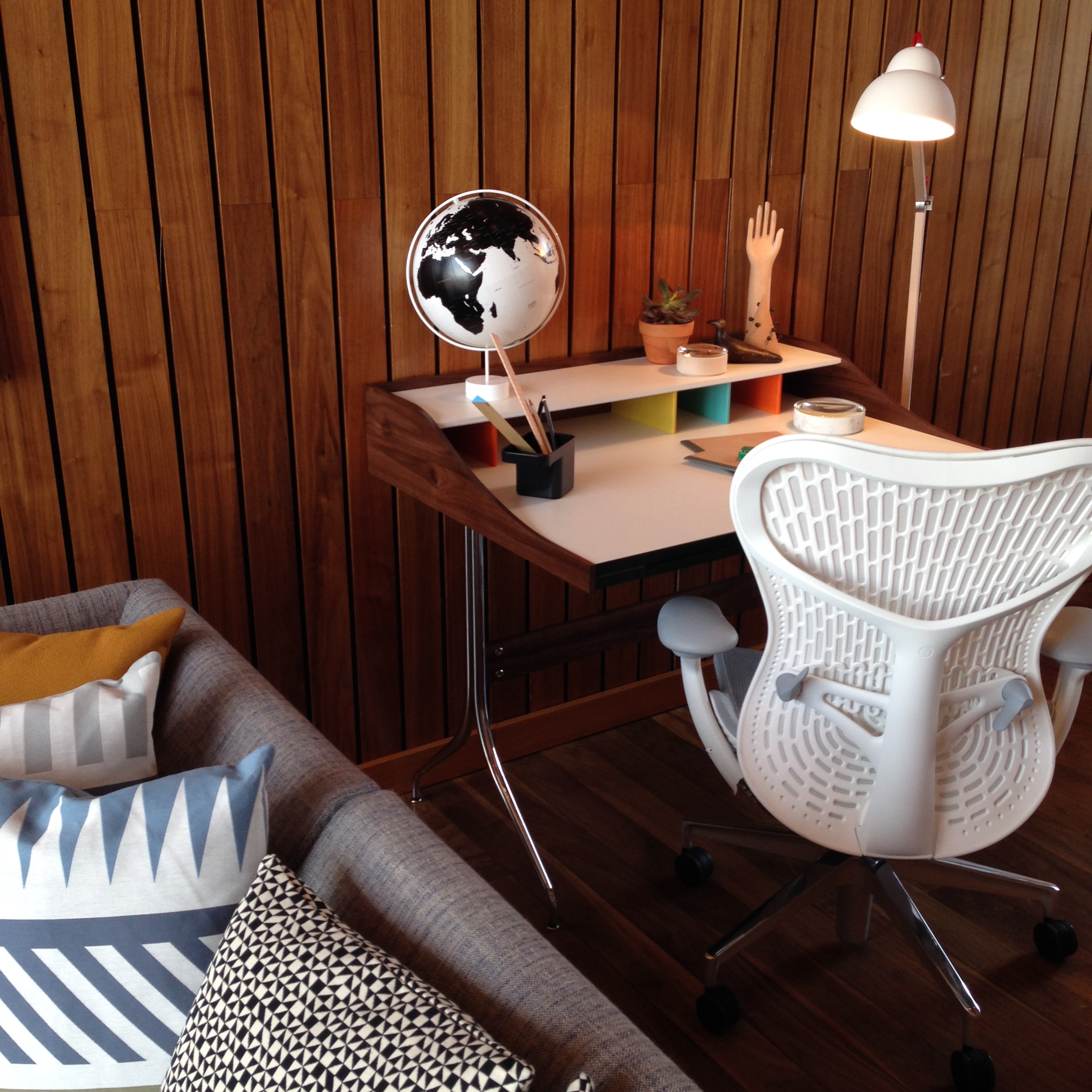 Bevel Sofa, Nelson Swag Desk and Mirra 2 Task Chair