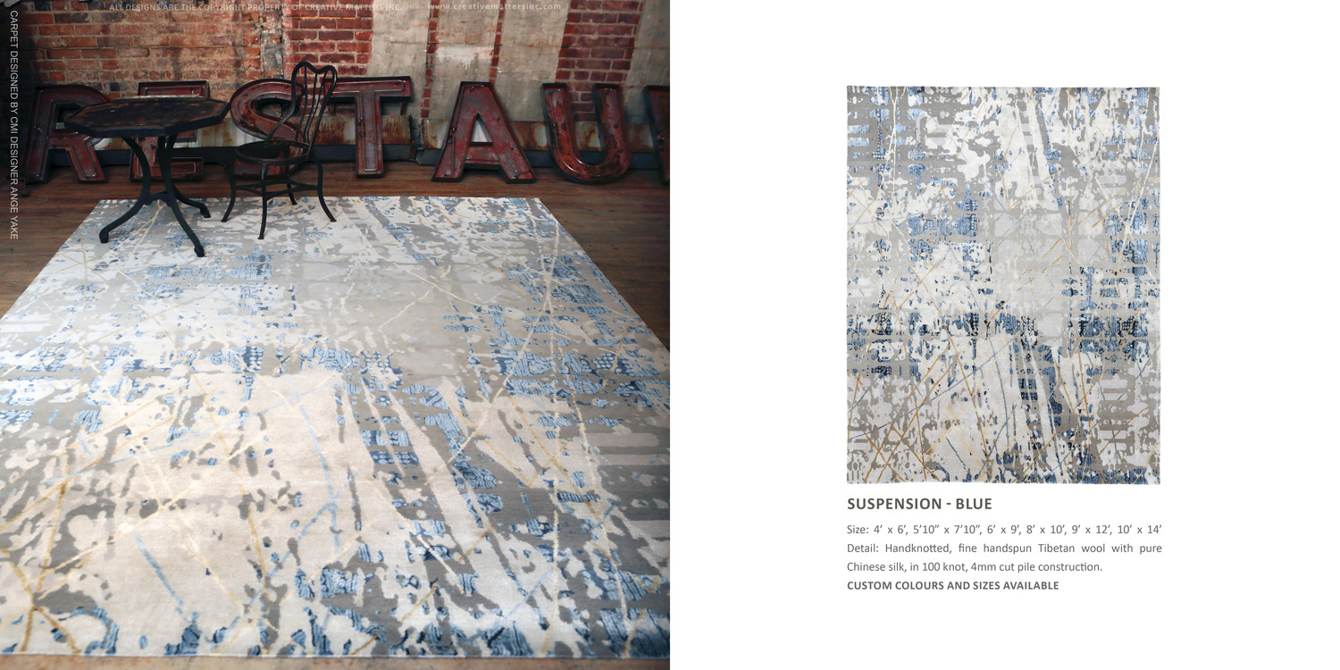 XXV COLLECTION - SUSPENSION BLue. HAND-KNOTTED FINE, HANDSPUN,TIBETAN WOOLWITH PURE CHINESE SILK, IN 100 KNOT, 4MM CUT PILE CONSTRUCTION.CARPETCOPYRIGHT CREATIVE MATTERS INCORPORATED. PHOTO CREDIT: CHRISTOPHER DROST