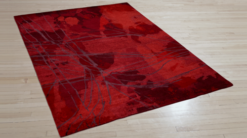 Art Day #13 Royale. Hand-knotted fine, handspun, Tibetan wool with pure Chinese silk, in 100 knot, 4mm cut pile construction. Carpet Copyright Creative Matters Incorporated. Photo Credit: Chris Harrison