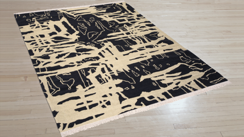 Art Day #8. 100% New Zealand wool with gold metallic fibers, Kilim flatwoven construction. Carpet Copyright Creative Matters Incorporated. Photo Credit: Chris Harrison
