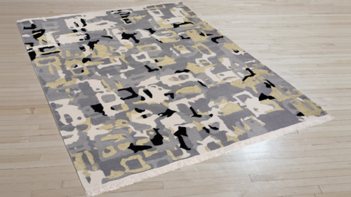 Art Day #111. 100% New Zealand wool with gold metallic fibers, Kilim flatwoven construction. Carpet Copyright Creative Matters Incorporated.  PHOTO CREDIT: CHRIS HARRISON