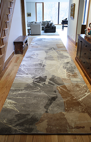 """Residential Carpet. """"Art Day #74"""" in a custom size & color. Hand-knotted fine, handspun, Tibetan wool with pure Chinese silk, in 100 knot, 4mm cut pile construction. Carpet Copyright Creative Matters Incorporated. Interior designed by Levitt Goodman Architects Ltd."""