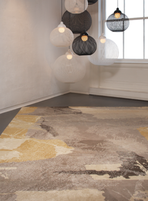 Art Day #74 Platinum. Hand-knotted fine, handspun, Tibetan wool with pure Chinese silk, in 100 knot, 4mm cut pile construction. Carpet Copyright Creative Matters Incorporated. Photo Credit:Chris Harrison