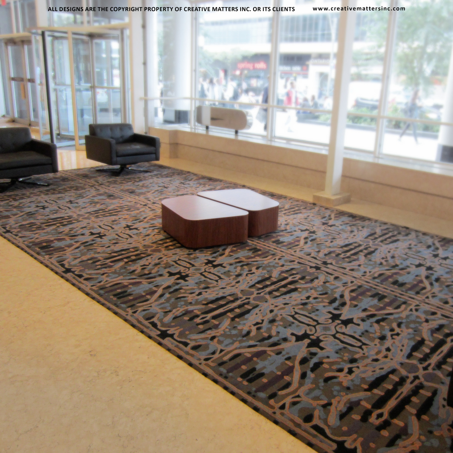 CORPORATE LOBBY IN Toronto, ON WITH in8 designINC. HANDTUFTED IN THAILAND, 100% WOOL  . CARPET COPYRIGHT CREATIVE MATTERS INCORPORATED.