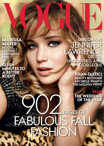 """Vogue , September 2013 Hair by Oribe Photography by Mario Testino    For the September issue of Vogue , Oribe gave Jennifer Lawrence a look inspired by legendary Italian actress Monica Vitti and the classic film Bonnie and Clyde . """"The style is all about movement,"""" Oribe said, noting that Lawrence's volume and texture, coupled with her face-framing layered cut, are perfect for fall.    Get the look:  1. Apply Grandiose Hair Plumping Mousse to damp hair and blow dry using a round brush. 2. Once the hair is dry, spray in some Thick Dry Finishing Spray and hit it with the blowdryer again. 3. Take a large-barrel curling iron and bend and shape the hair. 4. Spray Soft Dry Conditioner Spray throughout the hair and Dry Texturizing Spray at the roots. 5. Finish with Imperméable Anti-Humidity Spray and detail with Smooth Style Serum , if necessary."""