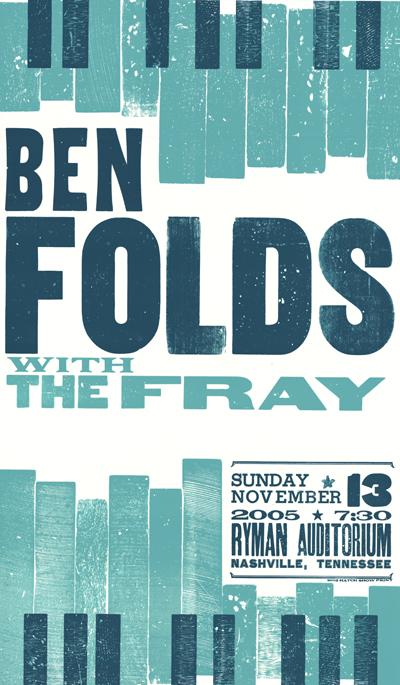 Ben Folds, 2-color letterpress show poster, 2005