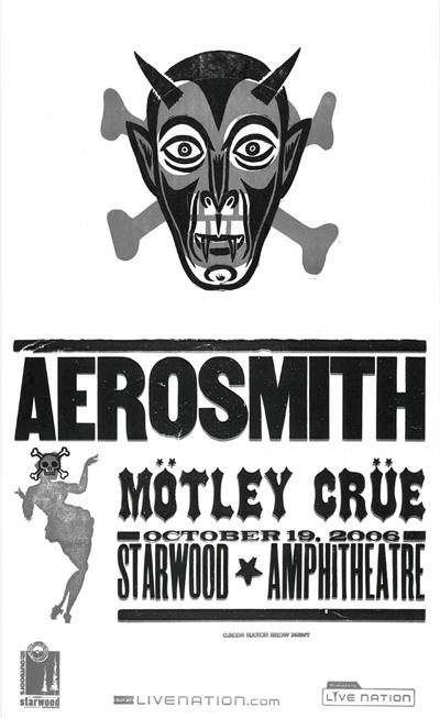 Aerosmith/Motley Crue, 2-color letterpress show poster, 2006