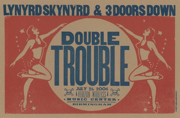 Lynyrd Skynyrd/3 Doors Down, 2-color letterpress poster, 2006