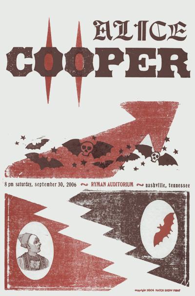 Alice Cooper, 2-color letterpress show poster, 2006