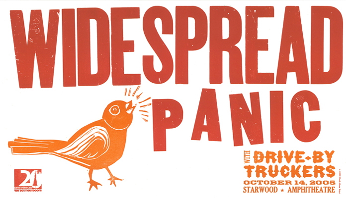 Widespread Panic, 2-color letterpress show poster, 2005