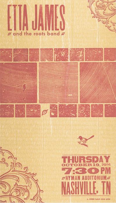 Etta James, 2-color letterpress show poster, 2006