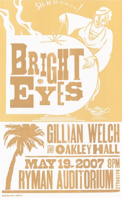 Bright Eyes, 2-color letterpress show poster, 2007